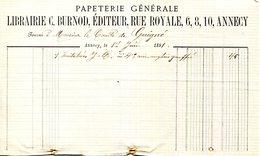 74.ANNECY.PAPETERIE GENERALE.LIBRAIRIE C.BURNOD EDITEUR 6,8,10 RUE ROYALE,POUR LE COMTE DE GUIGNÉ. - Imprimerie & Papeterie