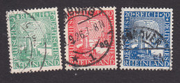 Germany, Scott #347-349, Used, German Eagle Watching Rhine Valley, Issued 1925 - Germany