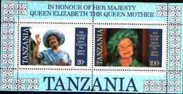 79198)  2 X MNH** Tanzania Regina Madre 85 Th Compleanno In Miniatura Fogli -   MNH**- 2 FOGLIETTI - Tanzania (1964-...)