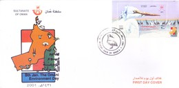 OMAN : FIRST DAY COVER - 08-01-2001 - THE OMANI ENVIRONMENT DAY - USE OF MINIATURE SHEET OF BIRD - Oman