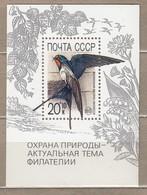 BIRDS RUSSIA 1989 Swallow Mi Bl 211 MNH(**) #22690 - Swallows