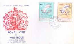 "GRENADINES OF ST. VINCENT : FIRST DAY COVER : 30-10-1977 : OVERPRINT WITH ""ROYAL VISIT MUSTIQUE - SILVER JUBILEE"" - St.Vincent & Grenadines"