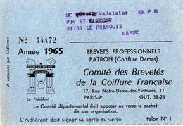 VP12.473 - Carte - PARIS 1965 - Comité Des Brevetés De La Coiffure Française - Section De La Marne REIMS - Cartes