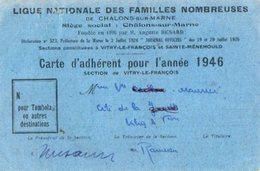 VP12.474 -  Ligue Nationale Des Familles Nombreuses - CHALONS SUR MARNE - Carte D'Adhérent Section De VITRY LE FRANCOIS - Cartes