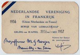 VP12.475 - PARIS 1956 / 57 - Carte - NEDERLANDE VERENIGING IN FRANKRIJK - Union Néerlandaise En France - Sin Clasificación