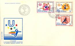 Roumanie FDC (2) 1987 Championnat De Handball Yvert 3737/42 Voir 2 Scan - Handball
