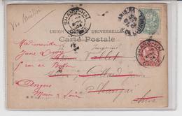1104 / CHINA CHINE Carte 1904 Retour Avec Timbre Francais De Shang-Hai Via Brindisi (recto Artiste Mlle WILLIOT) - Covers & Documents