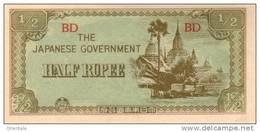 BURMA P. 13b 1/2 R 1942  UNC - Myanmar
