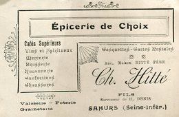 CARTE DE VISITE(EPICERIE) SAHURS - Visiting Cards