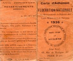 CARTE D ADHERANT HYGIENE(PARIS 1926) - Old Paper