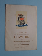 Huwelijk Van Elsa AERNOUTS & Jaak VERMEIREN - 10 Oktober 1950 / Feestmaal ( Details - Zie Foto ) De Perel ! - Menus