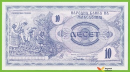 Voyo MACEDONIA 10 Denari 1992 P1a B101a UNC Tobacco Harvest - Macedonia