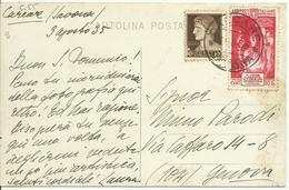 VE3Cb157-Cartolina Con 10 Cent Imperiale + 20+10 Cent. Milizia IV 3.8.1935 - Non Comune - 1900-44 Victor Emmanuel III