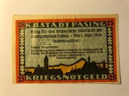 Allemagne Notgeld Pasing 25 Pfennig - [ 3] 1918-1933 : Weimar Republic
