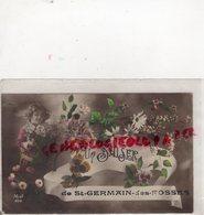 03 - SAINT GERMAIN DES FOSSES - UN BAISER ENFANT AVEC BOUQUET MARGUERITES- 1915 - Autres Communes