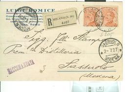 MICHETTI Cent.60X2,(S 205),CARTOLINA RACCOMANDATA,1927 -POSTE MILANO-SASSUOLO(MODENA),STAMPA SASSOLINO DISTILLERIA - Storia Postale