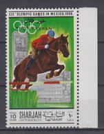 SHARJAH KHOR FAKKAN 1968 HORSE JUMPING RIDING EQUESTRIAN OVERPRINT - Reitsport