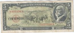 Cuba 5 Pesos 1958 Pick 91a Ref 1734 - Cuba