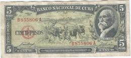 Cuba 5 Pesos 1958 Pick 91a Ref 1735 - Cuba