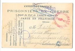GUERRE 1914-18 Carte De Correspondance Prisonniers De Guerre Fort De Varois Cote D'Or 1918 - Guerre 1914-18