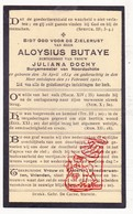 DP Burgemeester Aloysius Butaye ° Noordschote  Lo-Reninge 1854 † 1922 X Juliana Dochy - Devotion Images