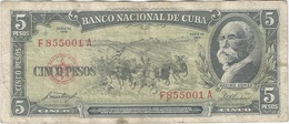 Cuba 5 Pesos 1958 Pick 91a Ref 1736 - Cuba