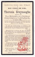 DP Theresia Bruynooghe ° Torhout 1837 † St.-Joseph Hooglede 1921 X Felix Devolder Xx Jean Cappelle - Devotion Images