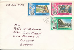 Venezuela Cover Sent Air Mail To Denmark 12-12-1974 Topic Stamps - Venezuela