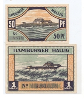 2257 REUSSENKÖGE _ HALLIG HAMBURG, NOTGELD  50 Pfg. & 1 Mark - Bredstedt