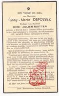 DP Fanny M. DeFossez ° Wervik 1870 † Hooglede 1937 X Remi J. Nuitten - Devotion Images