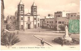 POSTAL  SFAX  -TUNEZ  - CATHÉDRALE ET MONUMENT PHILIPPE THOMAS  (CATEDRAL Y MONUMENTO A PHILIPPE THOMAS) - Túnez