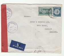 1950 CENSORED Levant SHIPPING Co ISRAEL To Bute Docks Cardiff GB COVER Censor Stamps Air Mail Haifa - Israel