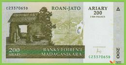 Voyo MADAGASCAR 200 Ariary 2004/2016 P87c B321c C-D UNC Aloalo - Madagascar