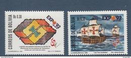 1992 Bolivia Expo Seville Columbus Ships    Complete  Set Of 2 MNH - Bolivia