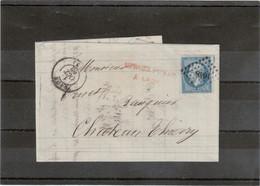 """CP69 - Lettre Avec Yvert 14 Oblitéré """" Petits Chiffres """" 1648 De LAON Du 1 OCT 1862 Pour Chateau Thierry. - 1862 Napoléon III"""