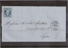 """CP69 - Lettre Avec Yvert 14 Oblitéré """" Petits Chiffres """" 3168 De St Louis Du 7 FEVR 58 Pour Lyon. - 1862 Napoléon III"""