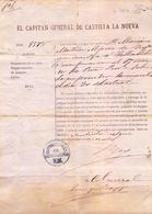 1874 , MADRID , EL CAPITÁN GENERAL DE CASTILLA LA NUEVA , PASAPORTE PARA UN ALFEREZ DE INFANTERIA CON DESTINO VALLADOLID - Documentos Históricos