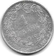 Belguim 1 Franc 1910 Dutch  Vf - 1909-1934: Albert I