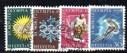 909 490 - SVIZZERA 1948 , Unificato N. 449/452  Usata . Olimpiadi - Svizzera