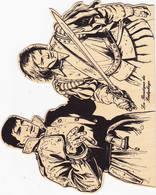 Strips Coria - Bob Morane La Boutique Du Bédéphage Sérigrafie , Tirage Sur Bois Découpé Nr 90 Van 150 Signé - Boeken, Tijdschriften, Stripverhalen
