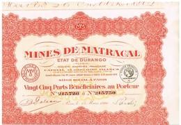 Action Ancienne - Mines De Matracal - Etat De Durango - Mexique -Titre De 1926 - N° 215726 à 215750 - Rouge - Mines