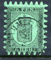 FINLAND 1866 8 P. Black/green Roulette III, Used. SG 46, Michel 6 Cx - 1856-1917 Russian Government