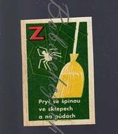 76 59 CZECHOSLOVAKIA 1964 Action Z Communist Era Nationwide Volunteer Work Down The Dirt - Broom Cobweb Spider Web - Boites D'allumettes - Etiquettes