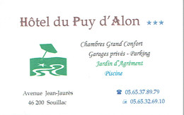 Carte De Visite De L'Hôtel Du Puy D'Alon, Souillac (vers 1999/2000) - Cartes De Visite