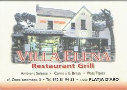Carte De Visite Du Restaurant Grill Villa Elena, Playa De Aro (Espagne) Vers 1999/2000 - Cartes De Visite