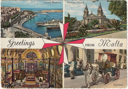 Greetings From Malta: Karozzin, Grand Harbour, Floriana Church, St. John's Cathedral - (1958) - Malta