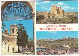 Greetings From Mellieha  - Malta - (10c 'Societa Filatelica 1966-1991' Stamp) - Malta