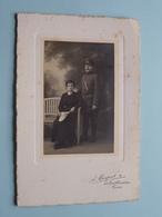 MILITAIR Avec Femme ( Photo A. MAUPUIT à TOURS Bd Heurteloup ) Complet 11 X 16 Cm.! - Guerre, Militaire