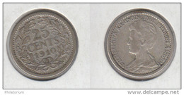 Pays Bas 25 Cents 1910 Nederland 25c KM#146 - [ 3] 1815-… : Kingdom Of The Netherlands