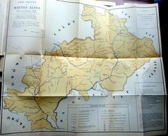 05 HAUTES ALPES QUEYRAS BRIANCONNAIS PECHE PISCICULTURE CARTE PISCICOLE DES HAUTES ALPES  66 X 54 CM TRES BEL ETAT 1935 - 1801-1900